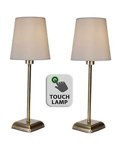 Pair of Classic Antique Brass Touch Lamps Bedside Lights w/ Ivory Fabric Shades | eBay