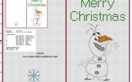 Бесплатные вышивки крестом Рождественская открытка с смешные Дисней Олаф