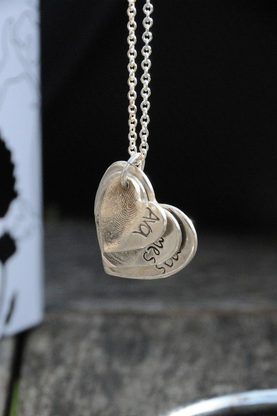 Family fingerprint pendant. I have been looking for a grandma necklace...this would be great and easy to add to as kids come along!
