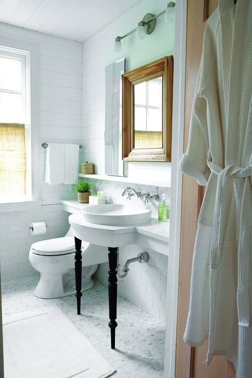 Some Nice Elements   Shelf Behind Toilet, Extending From Vanity. Open  Concept Vanity To