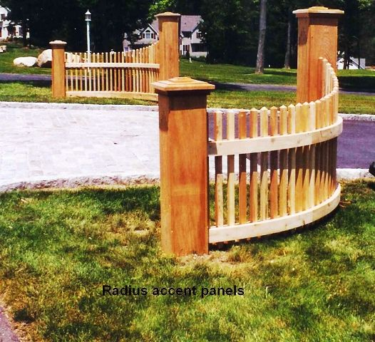 Wood Picket Radius Fence Sections for Driveway Entrance. I like this idea with some adaptation...
