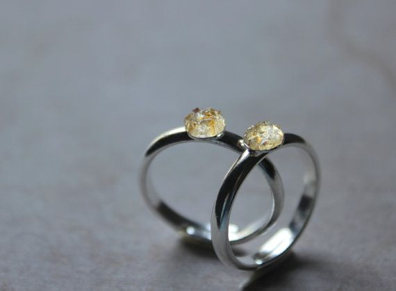 Citrien ring goud minimalistische ring gele ring door xuanqirabbit