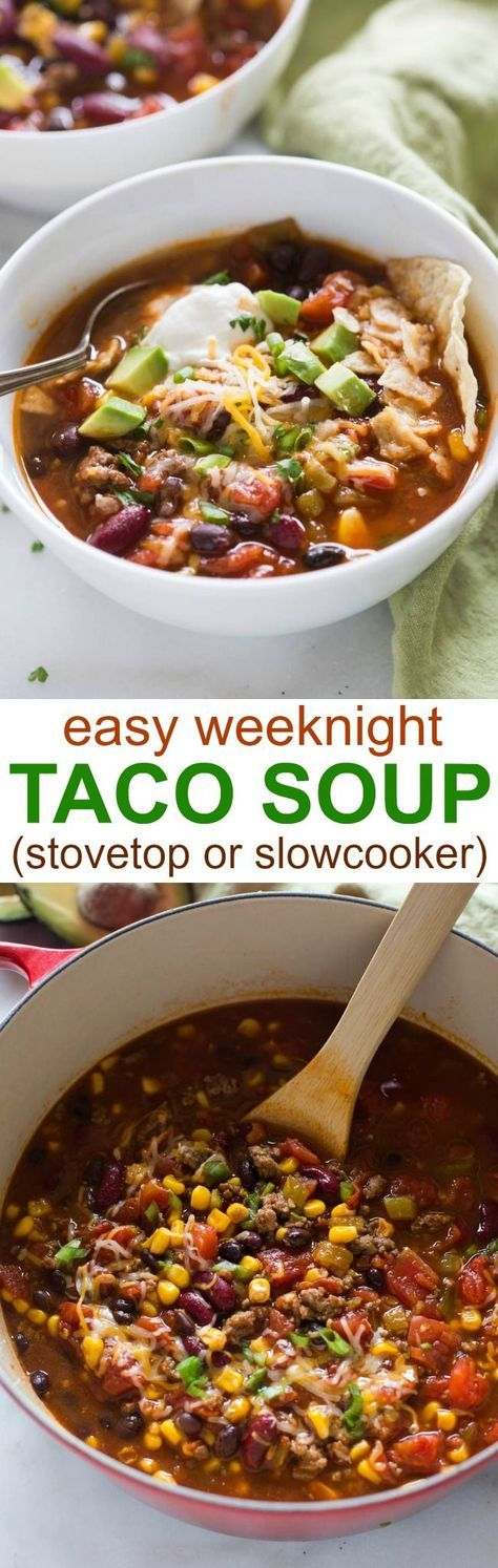 This easy taco soup recipe is one of my favorite dinner solutions when I want something quick and tasty that my family will LOVE! It can be made in the slow cooker or on the stovetop. | tastesbetterfromscratch.com