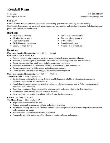 best retail customer service representative resume example samples