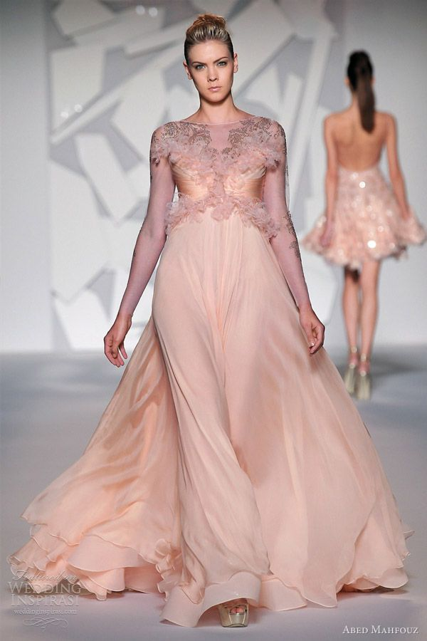 pink couture | abed mahfouz fall winter 2012 2013 couture pink peach long sleeve gown