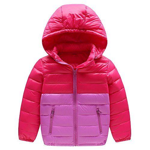 a25751b671536e Baby Boy Girl Winter Warm Down Jacket Kids Hooded Packable Lightweight Coat  Rose 130 Best Winter Coats for Women USA
