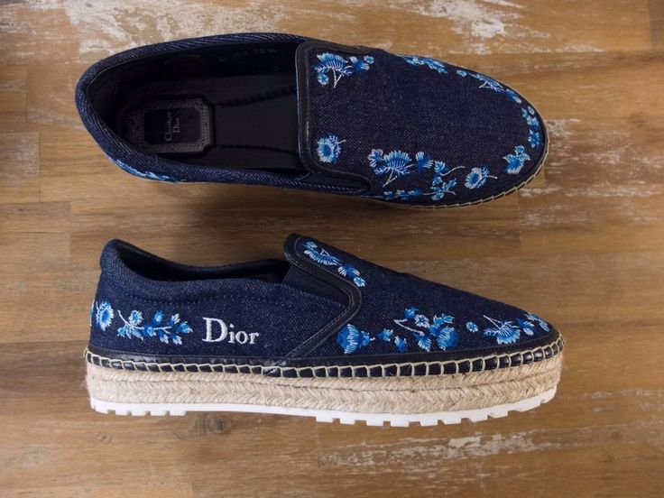 Authentic Christian Dior Prairie denim and leather espadrilles - Size 38.5 EU / 8.5 US / 5.5 UK - New with Box.   eBay!
