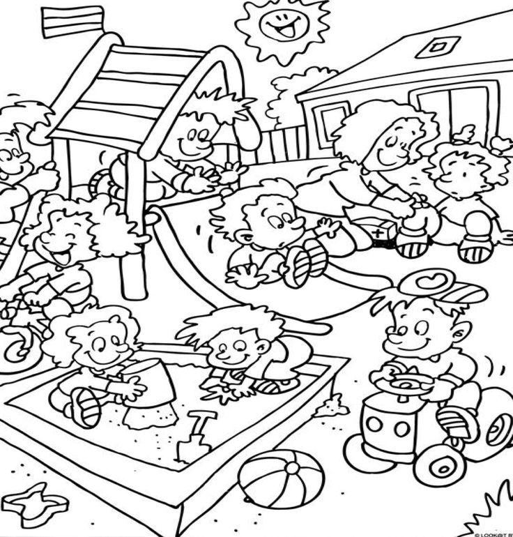 Kleurplaat Op Het Speelplein Thema Schoolreis