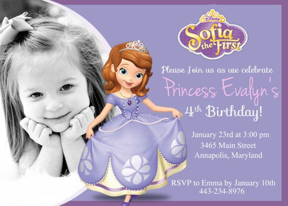 Best Sofia The First Party Images On Pinterest Anniversary - Sofia the first invitation template