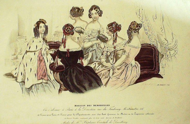 GRAVURE de MODE AUTHENTIQUE-T 52-MAGASIN DES DEMOISELLES-1844