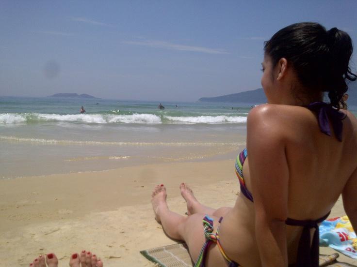 en la playa de Florianopolis