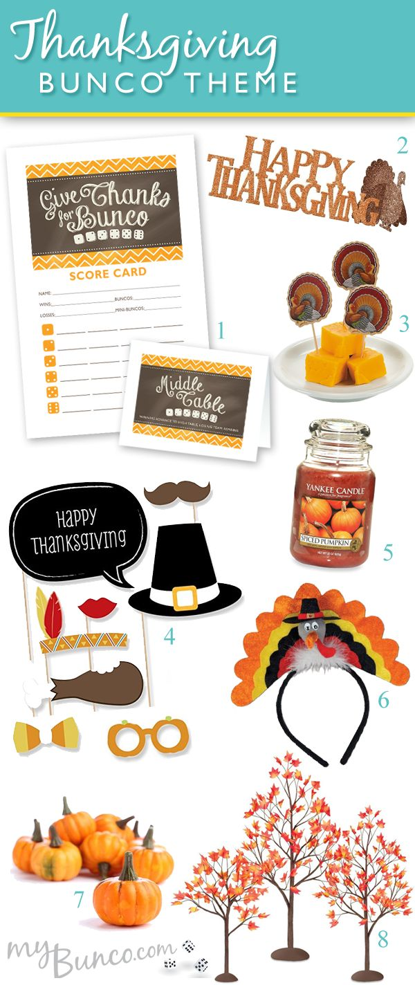 Thanksgiving theme bunco party ideas!