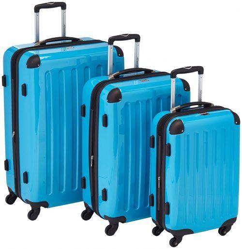 Juego de 3 maletas rígidas, Azul cian brillante por 150 €  Tenéis algún #viaje en el horizonte, tu maletas ya están para el arrastre, pues aquí os traemos un juego de 3 maletas rígidas por muy poco #dinero y con muy buenas opiniones.   #avion #ocio #viajes #chollos #ofertas
