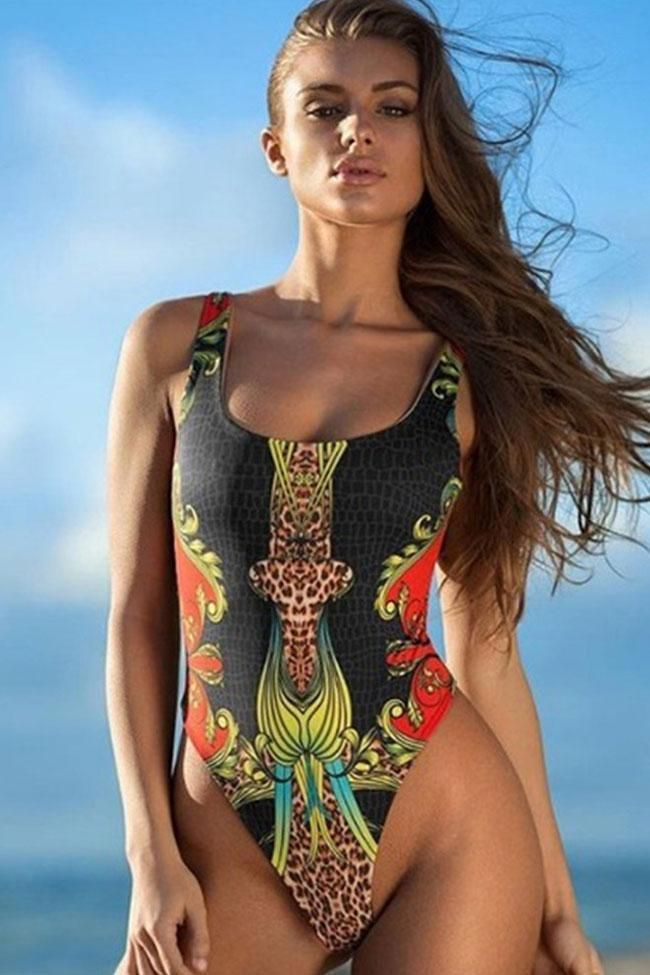 Tribal printed high leg brazilian one piece swimsuit
