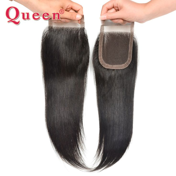 Queen Hair Products 6A Unprocessed Original Virgin Human Hair Closure 4*4 Peruvian Lace Closure Natural Color 8-18 Inches