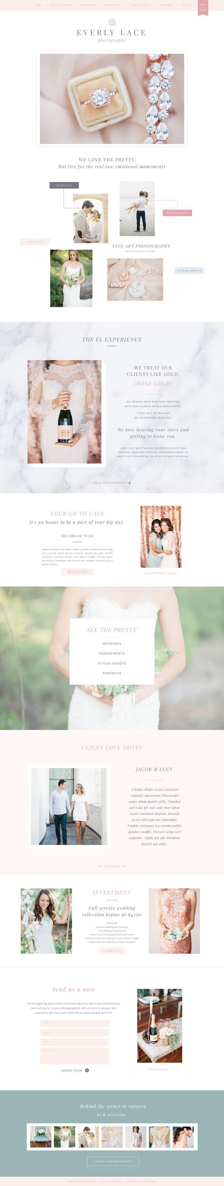 Everly Showit 5 Website Template Design by Seaside Creative. Beautiful, Feminine, Luxurious, Romantic, Simple