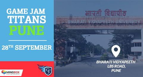 Get Ready ‪#‎Pune‬!  Next round of ‪#‎GameJamTitans‬ 2015 in Bharati Vidyapeeth / Bharati Vidyapeeth Deemed University, Pune  For more information visit: http://www.mindbox.co.in/gamejamtitan-games/