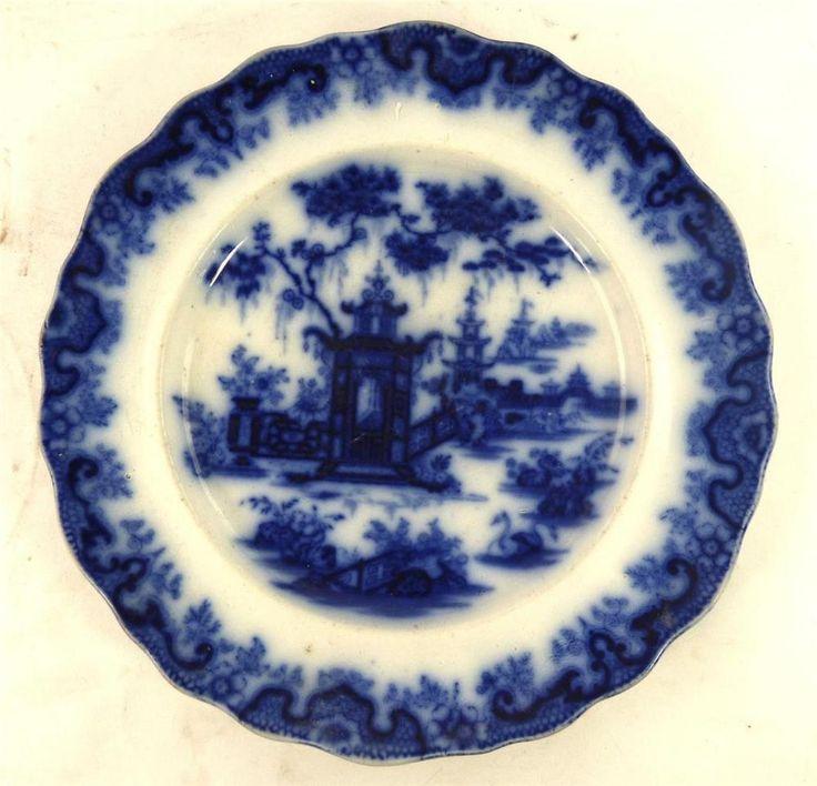 "ANTIQUE THOMAS GODWIN ""LINTIN"" BLUE & WHITE FLOW BLUE TRANSFERWARE PLATE 11"" 28c #DinnerPlates"