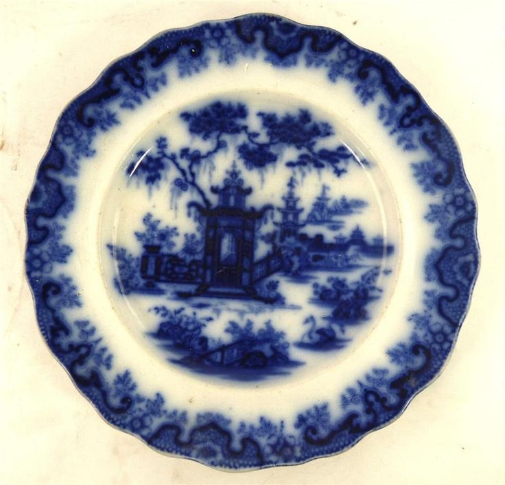 "ANTIQUE THOMAS GODWIN ""LINTIN"" BLUE & WHITE FLOW BLUE TRANSFERWARE PLATE 11"" 28c #DinnerPlates"