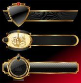 Zdobené dekorativní zlaté rámečky — Stock vektor
