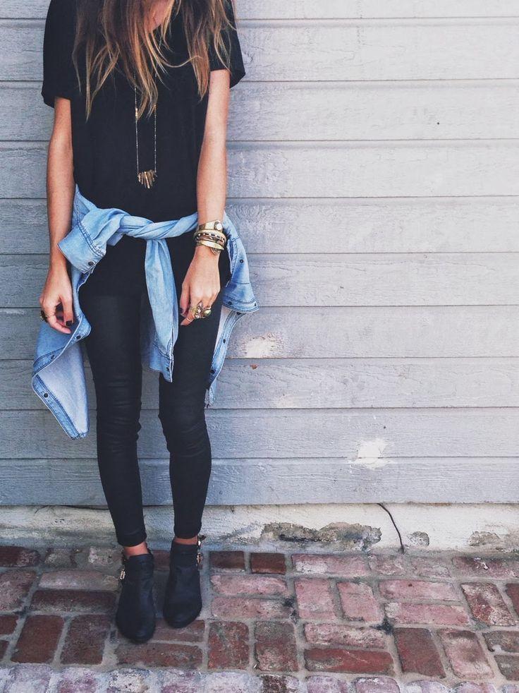 black tee + black jeans + chambray shirt = perfection