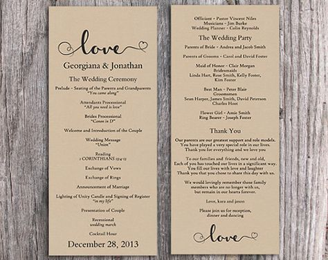 Burlap Wedding Program Template DIY Editable Word File Download Rustic Heart Printable