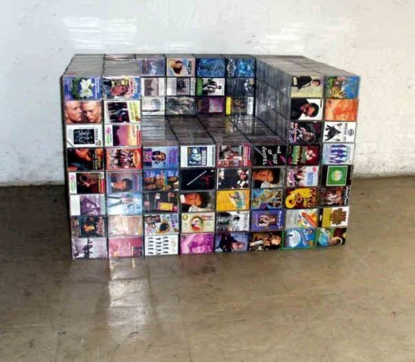 would you believe this chair is made out of...cassette tapes?