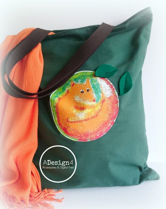 Tote Bag - Shopping Bag - Book Bag - Handbag - Forest Green Cotton Canvas Tote Bag With Fox Illustration - pinned by pin4etsy.com