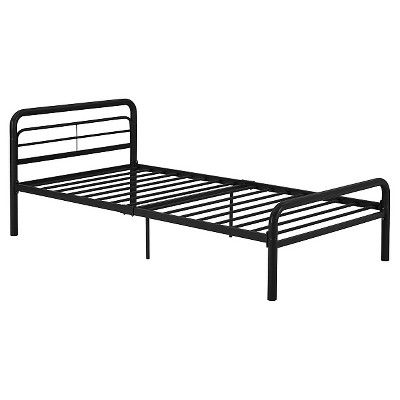Metal Twin Bed with Round Tubing, Black