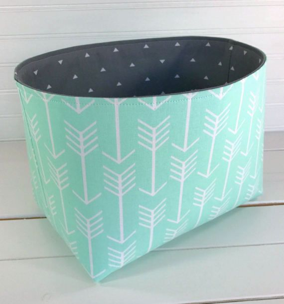 Organizer Basket,Bin,Arrow Nursery Decor,Storage Bin,Aztec,Boho,Fabric Basket Bin,Bohemian,Home Decor,Mint Green,Gray,Arrows,Aztec,Woodland
