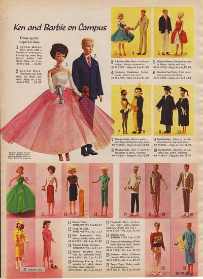 Barbie dolls from the 1964 Sears Christmas catalog