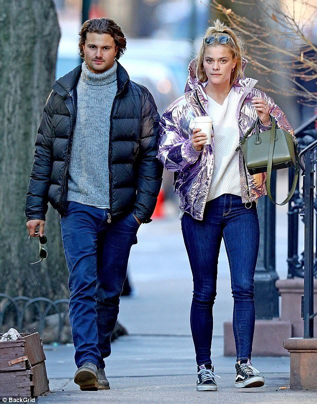 Nina Agdal bundles up in metallic puffer jacket  They met two months after she split with Leonardo DiCaprio.  And 25-year-old Nina Agdals relationship with boyfriend Jack Brinkley-Cook 22 is still going strong with the pair spotted strolling hand-in-hand through New York City streets on Saturday.  The Sports Illustrated Swimsuit Edition cover girl sported a pink shiny reflective puffer jacket for the outing.  Looks like love: Nina Agdals relationship with boyfriend Jack Brinkley-Cook 22 is…