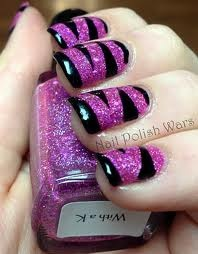 pink and sparkly zebra nails