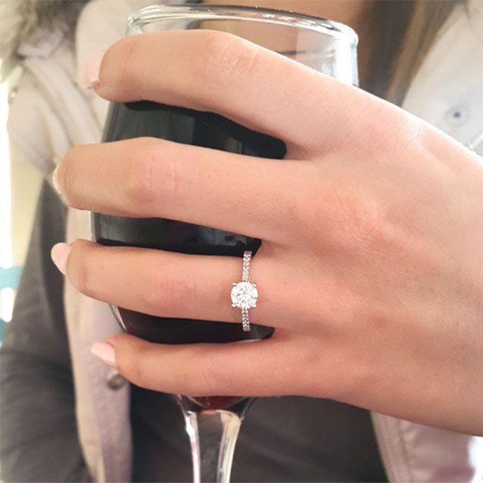 Brides.com: 32 Amazing Engagement-Ring Selfies A selfie with an ecstatic fiancé.Photo: Nastia Liukin via Twitter