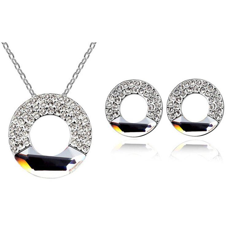 Fashion Jewelry Sets Crystal from Swarovski Elements Women Round Necklace Pendants Stud Earrings Bijouterie 5473 www.bernysjewels.com #bernysjewels #jewels #jewelry #nice #bags