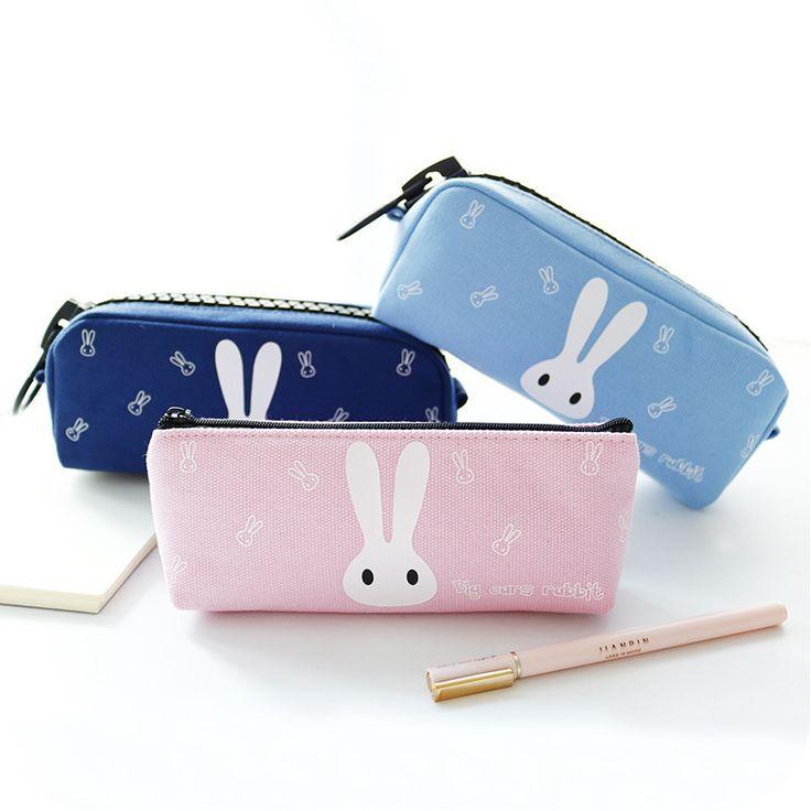 Super Big Pencil Case Rabbit Silica Gel Cute School Supplies Bts Stationery Gift School Cute Pencil Box Pencilcase Pencil Bag #Affiliate