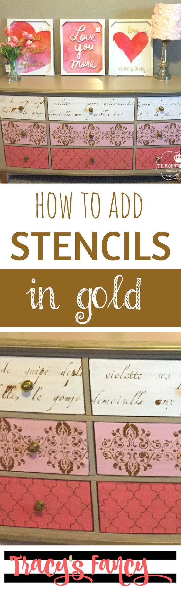 Mix Patterns on a Stenciled Dresser & How to Add Stencils in Gold to Furnityue   DIY Furniture and Furniture Painting Tips by Tracey's Fancy