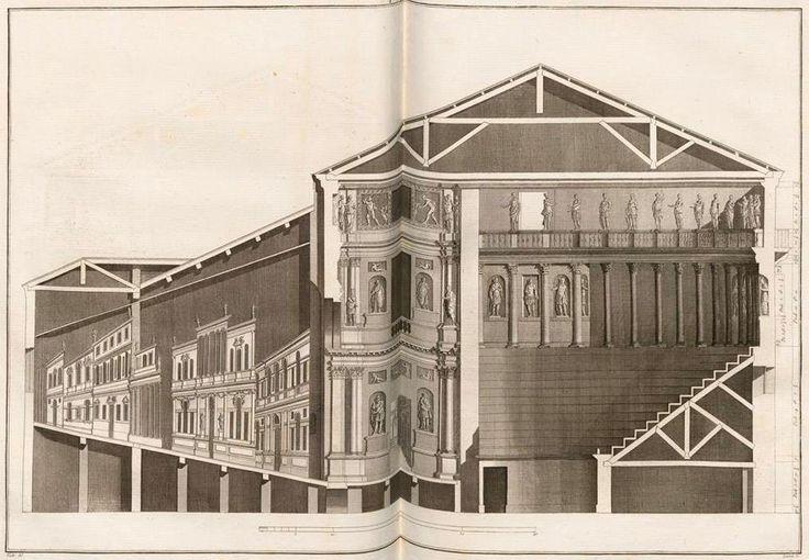 Teatro Olimpico di Vicenza, opera dell'eccelso Palladio, dagli splendidi disegni di Ottavio Bertotti Scamozzi, dalla seconda edizione del 1786.  Dottrina dell'Architettura