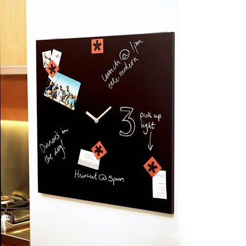 Black and Blum Time Square is a blackboard, a clock and a magnetic notice board. It's up to you how you decide to use it. With a steel frame coated in blackboard paint the clock has an electric quartz mechanism. It's supplied with 4 magnets, a pack of chalk and wall fixings.
