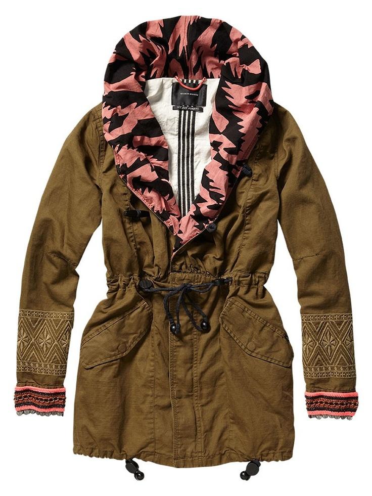 PARKA WPRINTED LINING & CROCHE - Jackets - Outerwear - Women