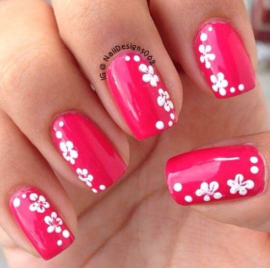Pink With Hawaiian Flower Design Luau Party Makeup Nails In 2018 Pinterest Nail Designs And Art