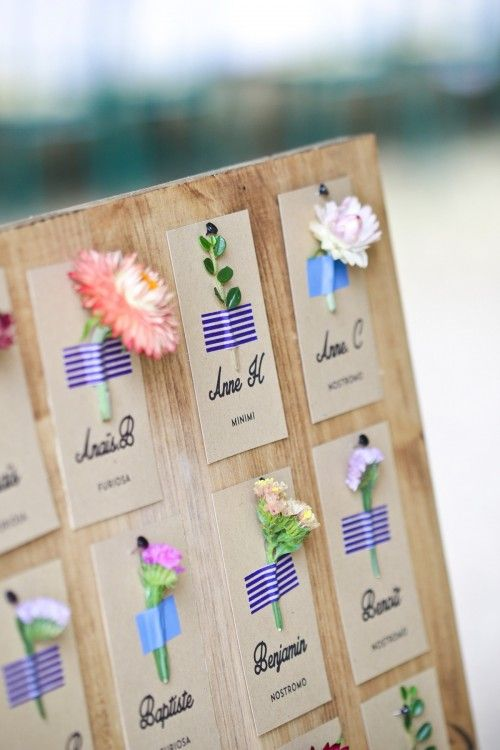 Simple yet beautiful seating Place Cards! Take a trim from around your garden & attach to printed name cards with cute washi tape.