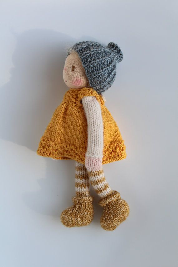 Waldorf doll Waldorf knitted doll Tess 20 cm / 8 by Toddledolls