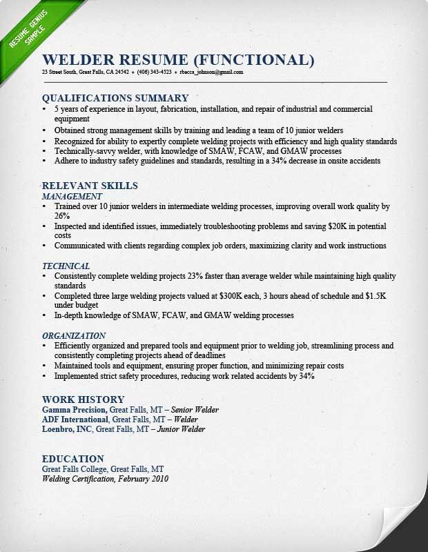 Welder Functional Resume Sample (620×800)  Welder Resume Sample