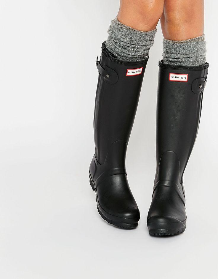 Image 1 of Hunter Original Slim Textured Leg Black Wellington Boots