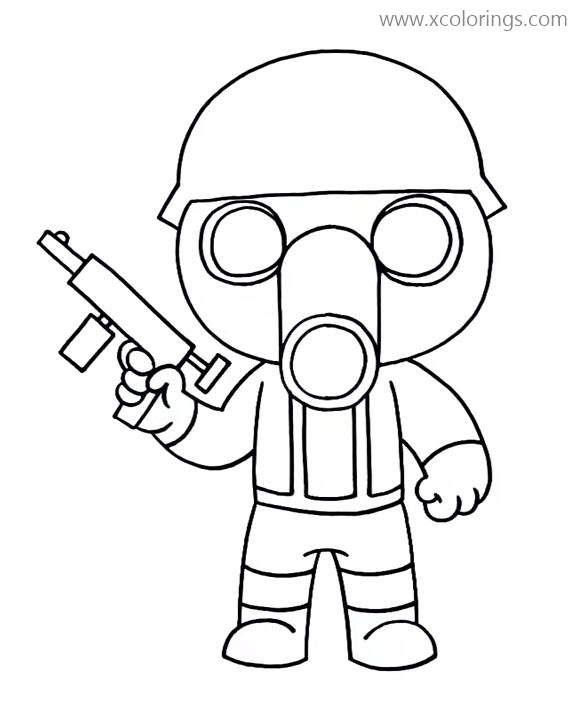Torcher From Piggy Roblox Coloring Pages Gas Mask Soldier Coloring Pages Cute Coloring Pages Cool Coloring Pages