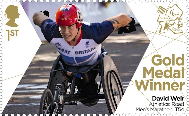 Paralympics Gold Medal Winner stamp - Athletics: Road Men's Marathon, T54, David Weir.
