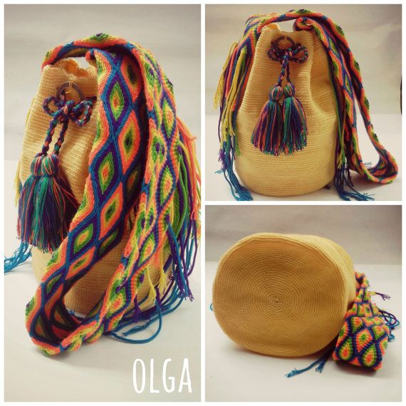 Yellow handmade Wayuu mochila. by MissAbigailShop on Etsy, $135.00