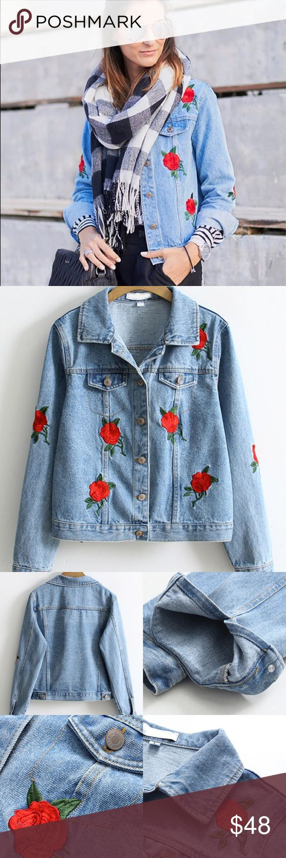 Flower embroidered denim jacket Brand new! Please refer to sizing in picture. Please let me know what size you would like, and will be shipped out to you in 3-5 days. Thank you. Not FP, just posted for exposure Free People Jackets & Coats Jean Jackets