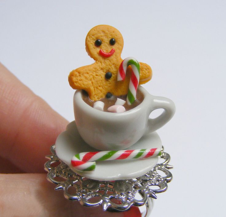 Food Jewelry, Gingerbread Man Ring, Man in Hot Chocolate Ring, Miniature Food Ring, Christmas Jewelry,Mini Food Jewelry,Christmas Ring, xmas by NeatEats on Etsy https://www.etsy.com/listing/210424614/food-jewelry-gingerbread-man-ring-man-in
